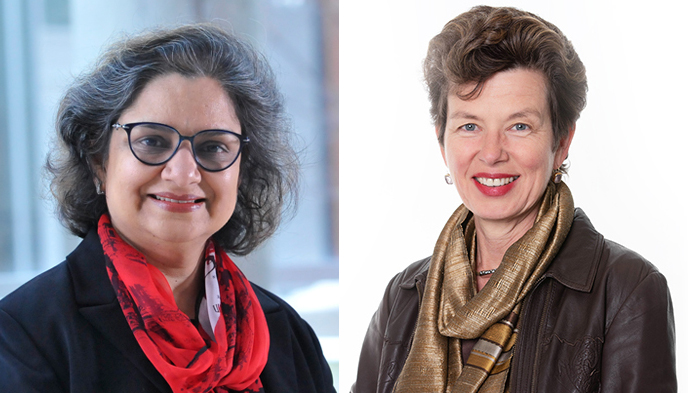 Professors Charu Kaushic, left, and Deborah Cook are taking leadership roles in Canada's response to the COVID-19.